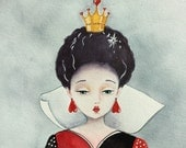 Alice in Wonderland Queen of Hearts Red Queen watercolor painting art print