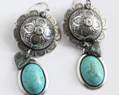Silver and Turquoise Earrings, Cowgirl Earrings, Southwestern Style Earrings, Silver Earrings, Gift for her, JewelryFineAndDandy SRAJD