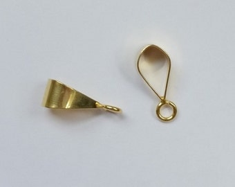 Simple and Shiny Bail 24k Gold Vermeil over Sterling Silver Smooth Necklace Slide Bail 16mm, Jewelry Findings, Beading Supply (1 piece)