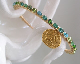 Sea Green Cuff, Gemstone Gold Filled Bracelet, Dolphin Charm Dangle, Emerald, Chrome Diopside, Green Tsavorite, Original, Made to Order