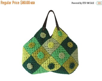 20% WINTER SALE Granny Sguare Afghan Croched Handbag With Leader Handles and Crochet Flowers