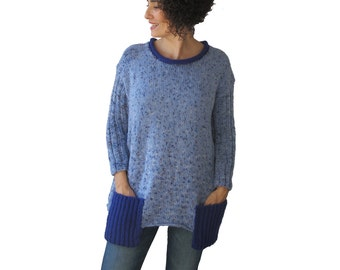 Tweed Blue Tunic Sweater With Boat Neck and Pocket Detail