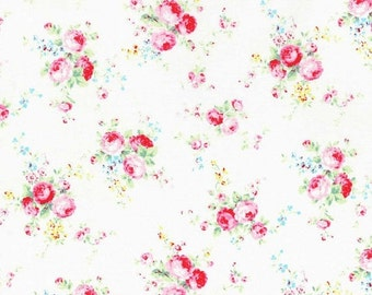 CIJ SALE Flower Sugar White with Large Scale Pink Floral Flowers Rose Bouquets Shabby Chic Designer Quilting Sewing Fabric Lecien - 1/2 Yard