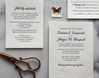 Letterpress Wedding Invitations, Custom Floral Letterpress Invitations, Sample