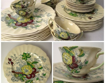The Kirkwood Multicolor Royal Doulton 36 Piece Place Setting for Eight Dinner Luncheon Plate Teacup Saucer Botanical Anthropologie Style