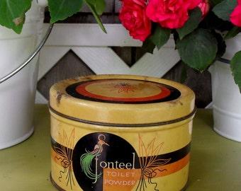 Vintage Jonteel Toilet Powder Round Tin with Parrot
