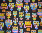 Fabric DESTASH One Yard Only Owl Fabric Retro 60s 70s Peace Owls On Sale