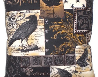 Gothic Raven Decorative Throw Pillow Victorian Steampunk Home Decor Bedding