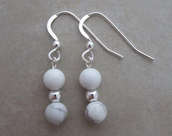 white howlite sterling silver earrings
