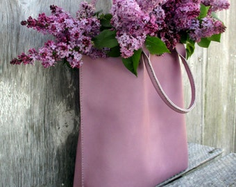 Lilac Leather Tote Bag by Stacy Leigh