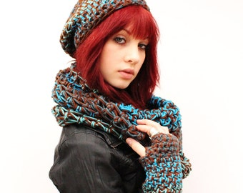SET WATER Rasta Love Cowl Hood Vegan scarf fingerless gloves slouch hat Teal Turquoise Aqua Brown