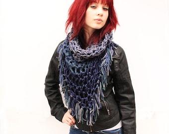 The Fringe Cowl neck scarf hood shawl vegan Rasta Love Sailors Storm navy nautical blue grey