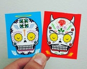 Good and Evil Sticker Set Day of the Dead Art