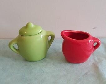 Miniature Vintage Ceramic Sugar and Creamer