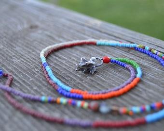 Bone stories – cast sterling silver Vertebrae seed bead necklace