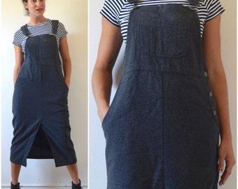 Vintage 80s 90s Grey Wool Midi Length Overall Jumper Dress (size medium, large)