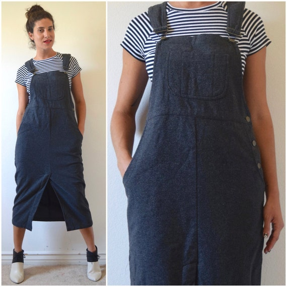 SPRING SALE/ 20% off Vintage 80s 90s Grey Wool Midi Length Overall Jumper Dress (size medium, large)