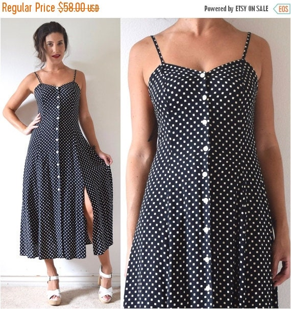 SUMMER SALE / 20% off Vintage 80s 90s Black and White Diamond Print Button Front Midi Dress (size small, medium)