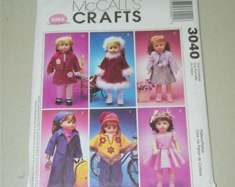 """McCall's Doll Clothes Pattern for 18"""" Fits American Girl 3040 11986 Gotz"""
