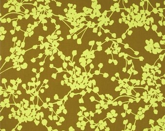 Amy Butler Fabric, Coriander in Olive, Floral Print, Cotton Fabric - HALF YARD
