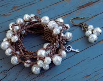 Baroque Pearl bracelet/necklace 5 times wrap of gorgeous glass pearls with free earrings