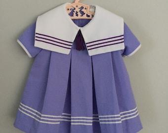 70s Purple Sailor Dress Size 24 months to 2t