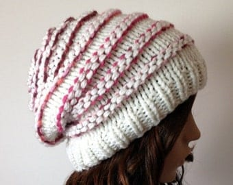 JULY SALE Womens Knit Hat - Slouchy Beanie, cream with Pink ribs, Chunky, winter, ski