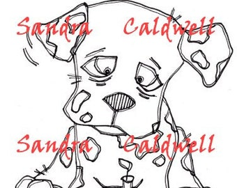 816 Dalmatian Birthday Digi Stamp