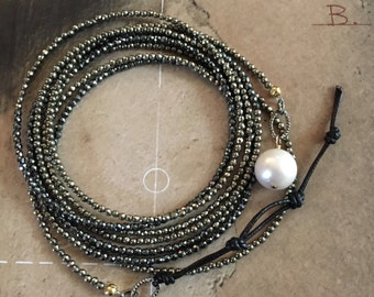 wrap bracelet boho style yoga jewelry pyrite pearl and leather spinel