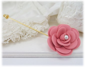 Camellia Brooch or Stick Pin - Camellia Jewelry, Camellia Flower, Japanese Rose