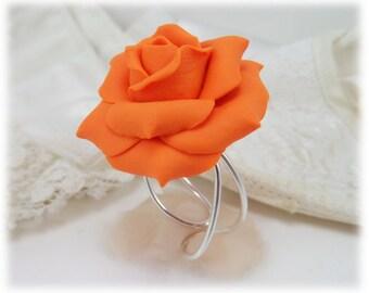 Large Orange Rose Ring - Orange Rose Jewelry, Orange Flower Ring