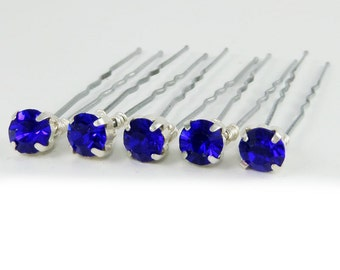 Sapphire Blue Rhinestone Hair Pins - Sapphire Crystal Hair Pins, Blue Wedding Hair Pins, Something Blue - 7mm/5 qty - FLAT RATE SHIPPING