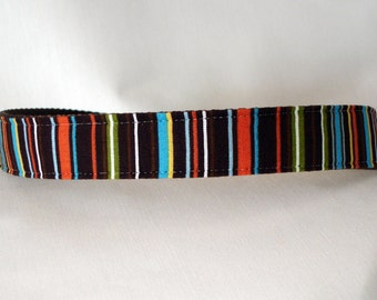 Large Dog Collar - Fall Stripes - 1 inch wide - ready to ship