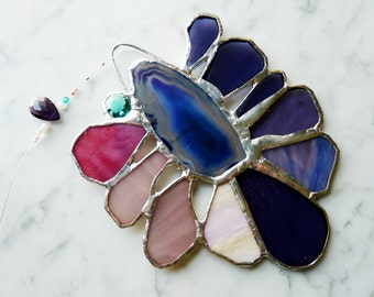 Stained Glass Flower Suncatcher Sunflower with Agate Center and Purple Petals - Blueberry Sorbet