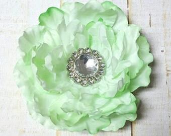 "Green Flower Clip Mint Green Hair Clip 3.5"" Green Peony Rhinestone Flower Clip Wedding Bridesmaid Flower Girl Green Hair Clip Mint Hair Clip"