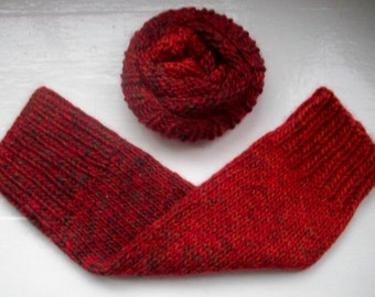 Leg warmers, unisex, smaller size, chunky, wool alpaca mix, warm, dark chestnut red