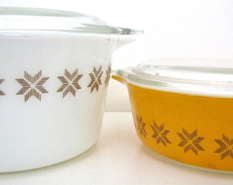 Vintage Town and Country Pyrex Casserole Dishes w/lids, 1 PT, 1 QT PYrex Dishes, Town and Country, Bakeware, Glass Casserole, Retro Kitchen