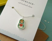 Tiny Turquoise Matryoshka (Russian Doll) Charm Necklace : Stocking Stuffer, Gifts Under 10, Friendship Necklace