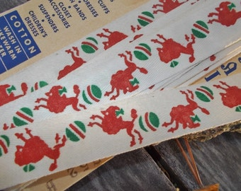 1930s Twill Tape Printed with Red Poodles and Green Balls Royal Swan pattern 752B 8 yards less 5 inches