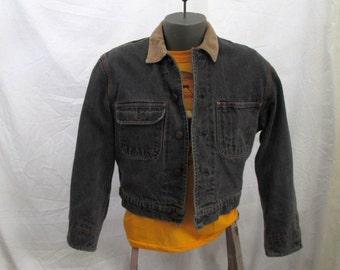 Vintage Ralph Lauren Jean Jacket 90s Polo denim Trucker Jacket Plaid lining corduroy collar denim jean jacket S