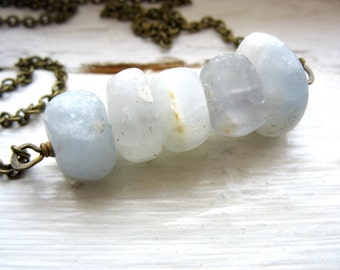Angelite Necklace, Angelite Stone Antiqued Brass Chain Necklace, Handmade Artisan Jewelry Statement Necklace, Angelite, Angelite Jewelry