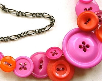 Christmas in July Sale Bright Orange and Pink Vintage Big Button Bib Funky Statement Necklace