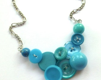 Winter sale Funky Fashion Small Vintage Button Necklace in Bright Blue
