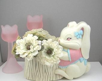 "White Bunny Wall Pocket ""Burwood"" USA Molded Resin Rabbit Planter Child's Room Decor Nursery 1960-70s Baby Girl"