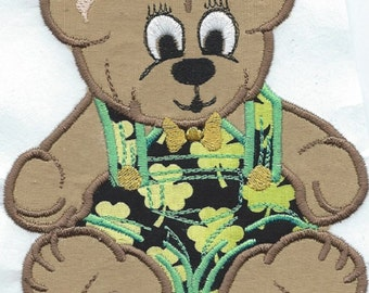 Shamrock Teddy Bear  applique iron on patch machine embroidered ready to ship