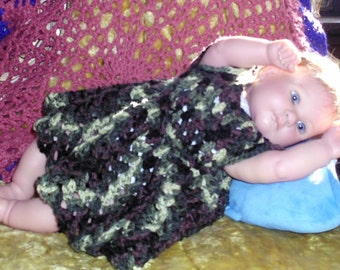 Crochet baby dress 0-3 months spring summer handmade doll Camo Green brown