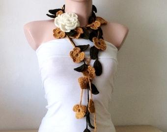 Flower scarf Handmade Crochet Saffron Alpaca Flower Lariat, Scarf, Necklace