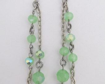 Bead & Chain Dangle earrings - Frost Green