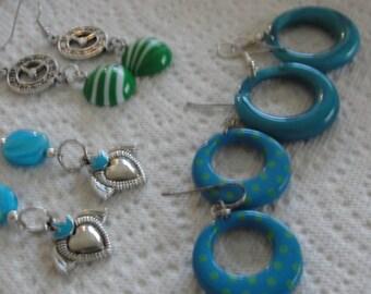 Super Lot of Dangle Blue Pierced Earrings