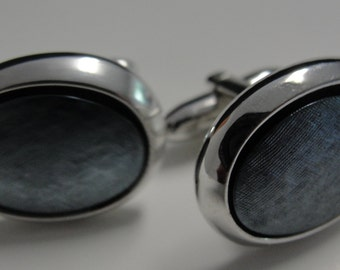 Grey Oval Cuff Links